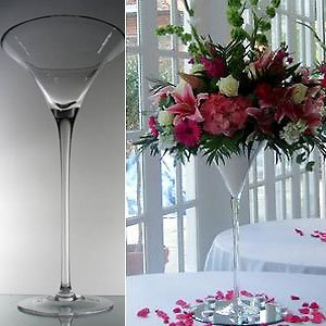 Stikla vāze Martini glāzes formā 60cm