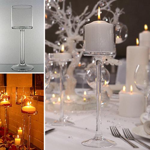 Stikla vāze svecēm 28 cm