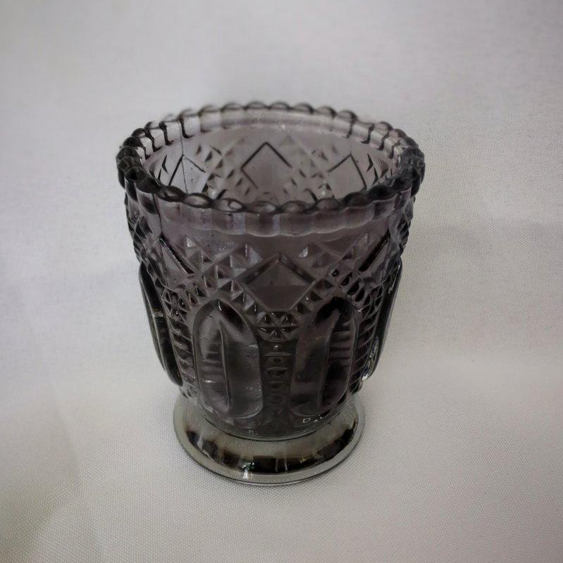 Svečturis, stikla, pelēks 6cm