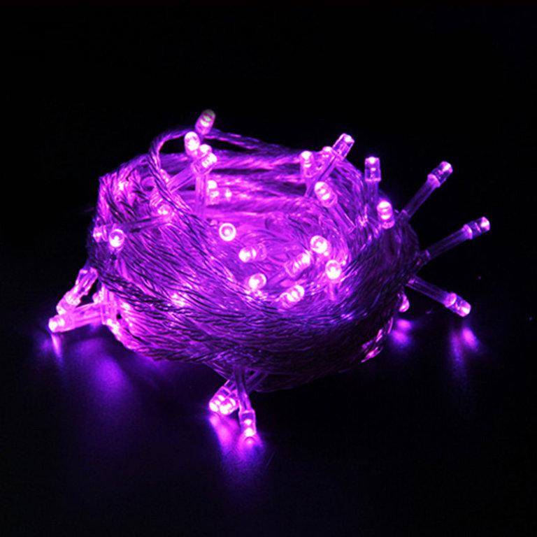 LED lampiņu virtene 10m, violeta