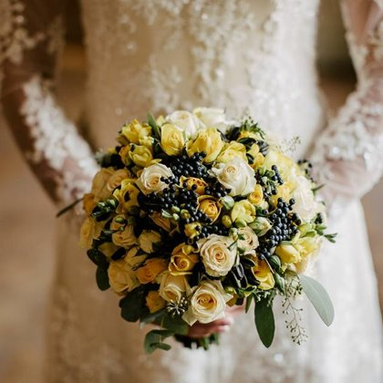 Navy blue & yellow